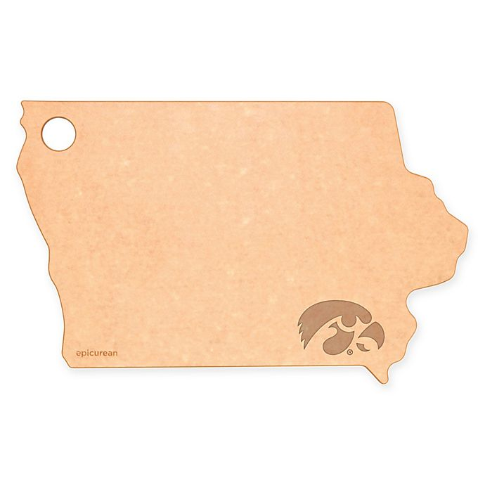 Alternate image 1 for University of Iowa Epicurean® State Shaped Logo Cutting Board
