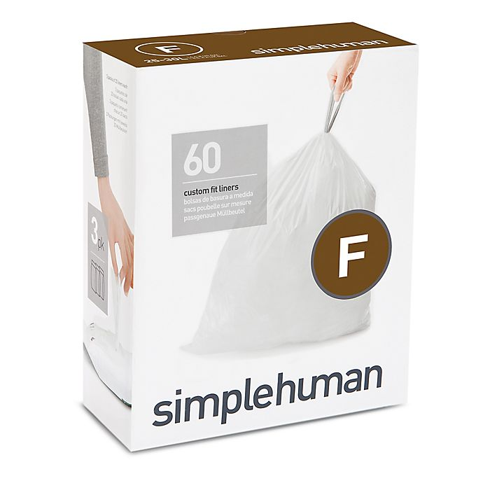 Alternate image 1 for simplehuman® Code F 60-Pack 25-Liter Custom-Fit Liners in White