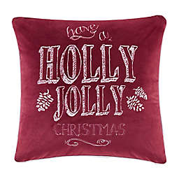 "Madison Park ""Holly Jolly Christmas"" Square Throw Pillow in Red"