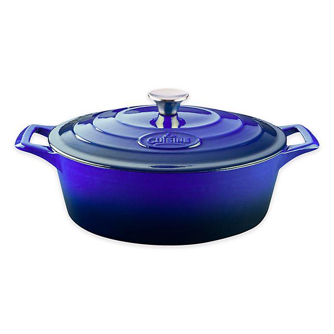 Alternate image 1 for La Cuisine PRO 6.75 qt. Oval Cast Iron Casserole in Sapphire