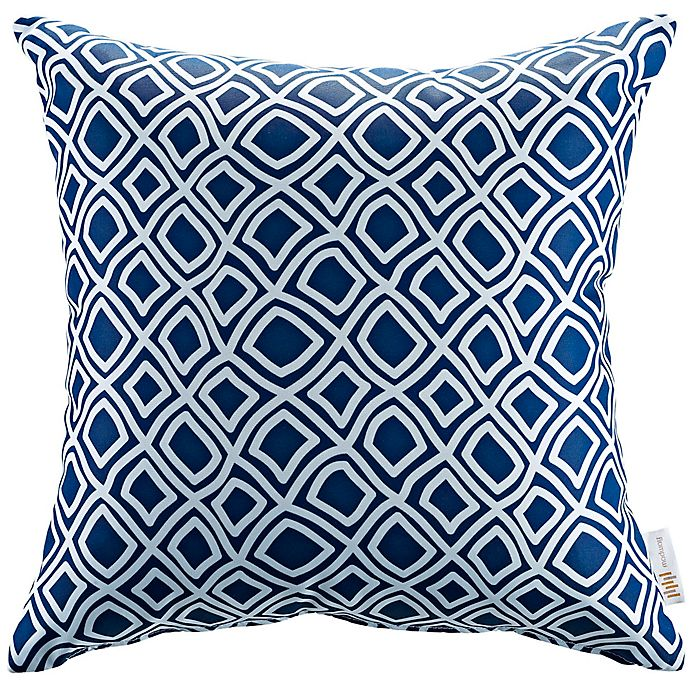 Alternate image 1 for Modway Outdoor Patio Square Throw Pillow in Blue/White