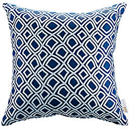 Modway Outdoor Patio Square Throw Pillow in Blue/White