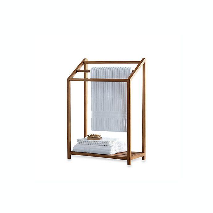 Alternate image 1 for Teak Free Standing Towel Rack