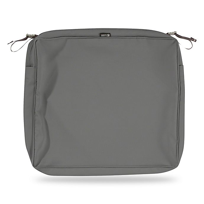 Alternate image 1 for Classic Accessories® Montlake™ 21-Inch x 19-Inch Dining Seat Cushion Cover in Charcoal