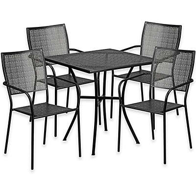 Flash Furniture 28-Inch Square Steel Table Patio Dining Collection in Black