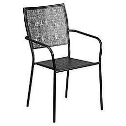 Flash Furniture Outdoor Patio Arm Chair with Square Back in Black