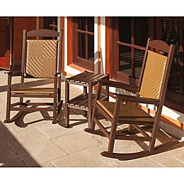 POLYWOOD® Presidential 3-Piece Woven Rocker Set in Mahogany/Wood