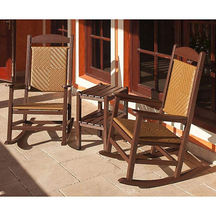 Alternate image 1 for POLYWOOD® Presidential 3-Piece Woven Rocker Set in Mahogany/Wood