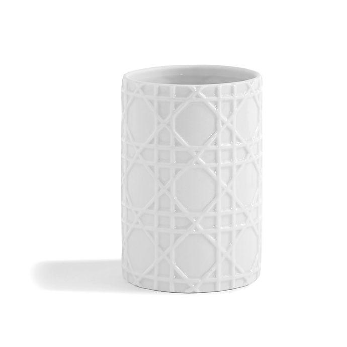 Kassatex rattan tumbler in white bed bath beyond - White wicker bathroom accessories ...
