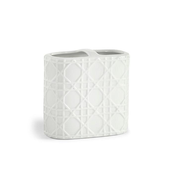Kassatex rattan toothbrush holder in white bed bath beyond - White wicker bathroom accessories ...