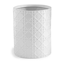 Kassatex Rattan Wastebasket in White