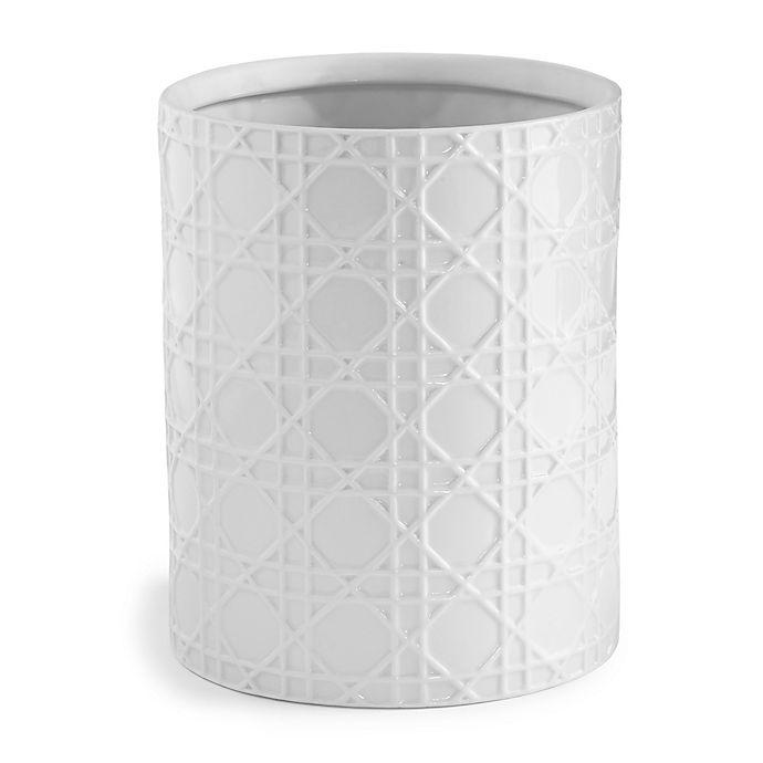 Kassatex rattan wastebasket in white bed bath beyond - White wicker bathroom accessories ...