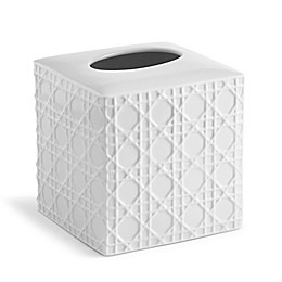 Kassatex Rattan Boutique Tissue Box Cover in White