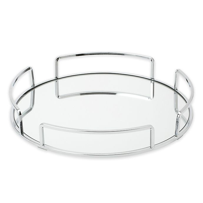 Alternate image 1 for Home Details Modern Round Vanity Mirror Tray in Chrome