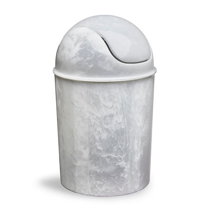 Alternate image 1 for Mini Can Wastebasket in White/Onyx