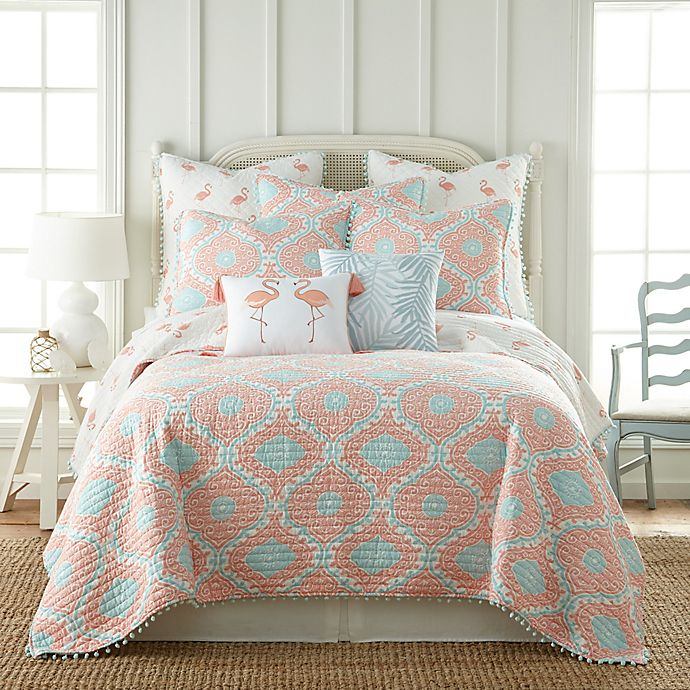 Alternate image 1 for Levtex Home Flamingo Bay Reversible King Quilt in Pink/Blue