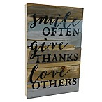 Sweet Bird & Co.  Smile, Give, Love  12-Inch x 18-Inch Wooden Wall Art