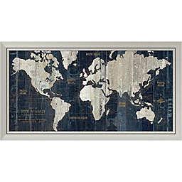 Amanti Art Old World Map Blue 43-Inch x 24-Inch Framed Wall Art