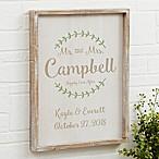 Mr. and Mrs. Laurel Leaf 14-Inch x 18-Inch Barnwood Framed Wall Art