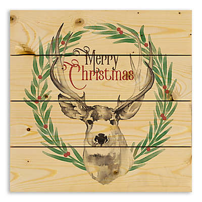 """Designs Direct """"Merry Christmas"""" Deer 14-Inch Square Pallet Wood Wall Art"""