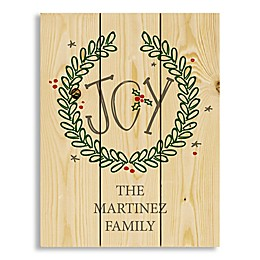 Joy Wreath 14-Inch x 10.69-Inch Wood Wall Art