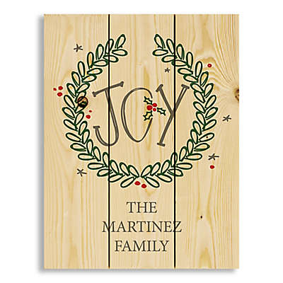 Joy Wreath 14-Inch x 10.69-Inch Wood Wall Art