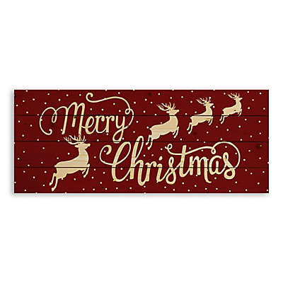 "Designs Direct ""Merry Christmas"" Reindeer 36-Inch x 14-Inch Pallet Wood Wall Art"