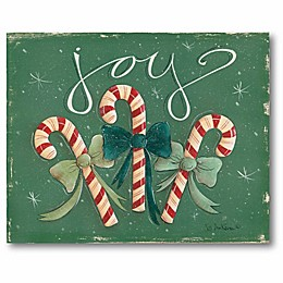 """Courtside Market """"Joy"""" 3 Candy Canes 16-Inch x 20-Inch Canvas Wall Art"""