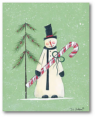 Snowman Christmas Tree 20-Inch x 16-Inch Canvas Wall Art