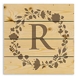 Designs Direct Floral Monogram 14.25-Inch Square Pallet Wood Wall Art in Grey