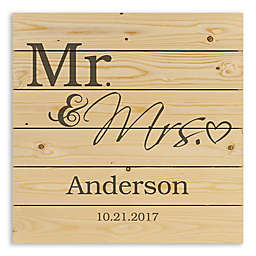 Mr. and Mrs. Heart 21.38-Inch Square Wood Wall Art