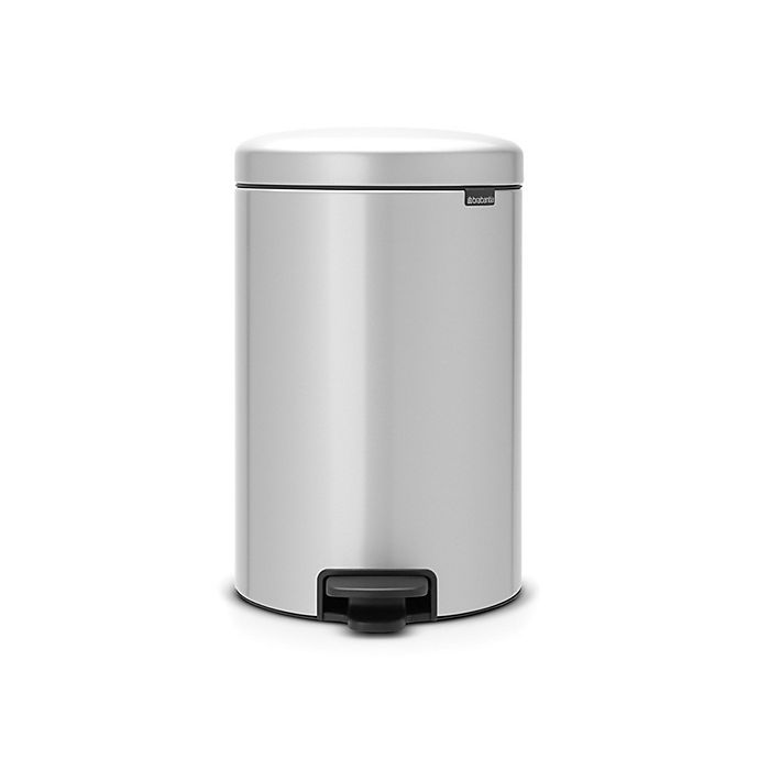 Alternate image 1 for Brabantia newIcon Steel 5.3 Gallon Round Step Trash Can in Metallic Grey