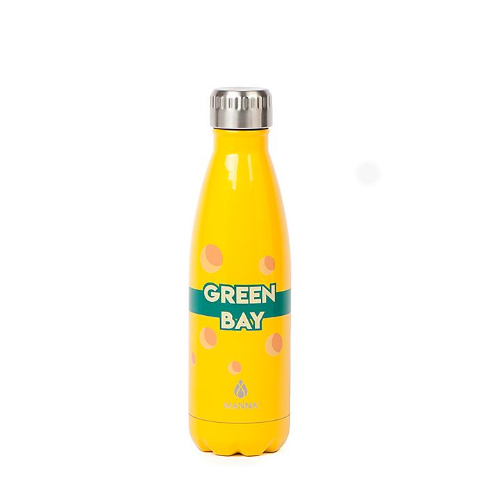 Alternate image 1 for Manna™ Vogue® Green Bay 17 oz. Double Wall Stainless Steel Water Bottle in Yellow