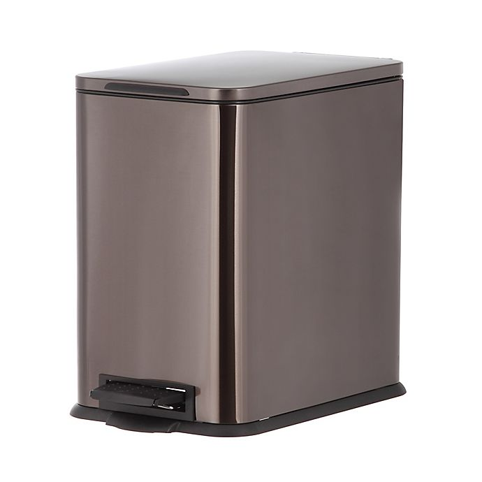 Alternate image 1 for SALT™ 15 Liter Stainless Steel Step Trash Can in Black