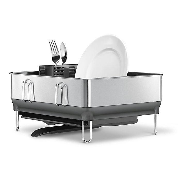 Alternate image 1 for simplehuman® Compact Steel Frame Dish Rack in Grey