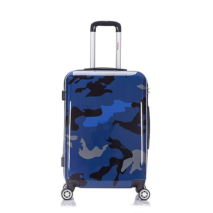 Alternate image 1 for InUSA Camouflage 24-Inch Hardside Spinner Checked Luggage in Blue