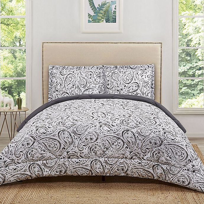 Alternate image 1 for Truly Soft Watercolor Paisley Reversible Twin XL Comforter Set in Grey