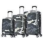 InUSA Camouflage 3-Piece Spinner Suitcase Set in Green