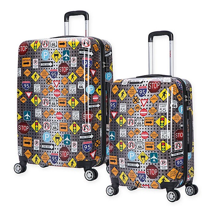 Alternate image 1 for InUSA Signs Hardside Spinner Checked Luggage