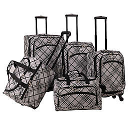 American Flyer 5-Piece Spinner Luggage Set in Silver Stripes