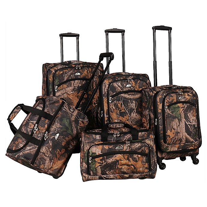 Alternate image 1 for American Flyer 5-Piece Spinner Luggage Set in Camo Green