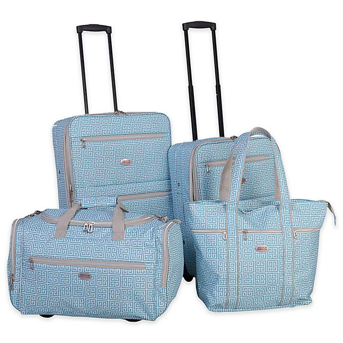 f3970f357 American Flyer Greek Key 4-Piece Rolling Luggage Set | Bed Bath & Beyond