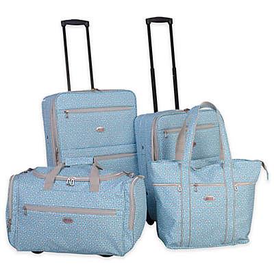 American Flyer Greek Key 4-Piece Rolling Luggage Set