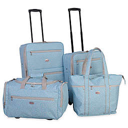 American Flyer Greek Key 4-Piece Rolling Luggage Set