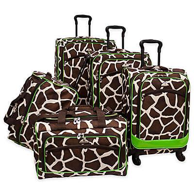 American Flyer Animal Print 5-Piece Spinner Luggage Set in Giraffe Green
