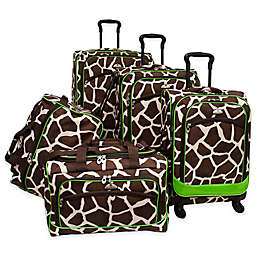 American Flyer Animal Print 5-Piece Spinner Luggage Set in Giraffe Green