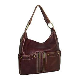 Amerileather Caroline Leather Shoulder Bag in Chestnut Brown