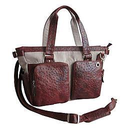 Amerileather Vika Ostrich-Print Handbag in Brown