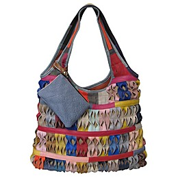 Honeycomb Leather Tote Bag in Rainbow
