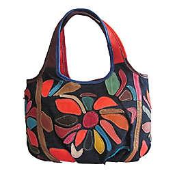 Avi Leather & Denim Mini Handbag in Rainbow
